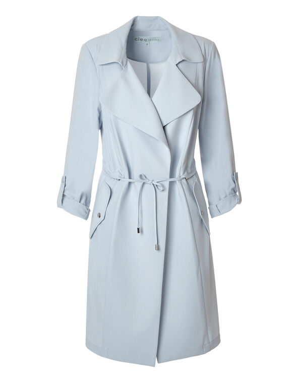New Blue Soft Trench Style Jacket, New Blue, hi-res
