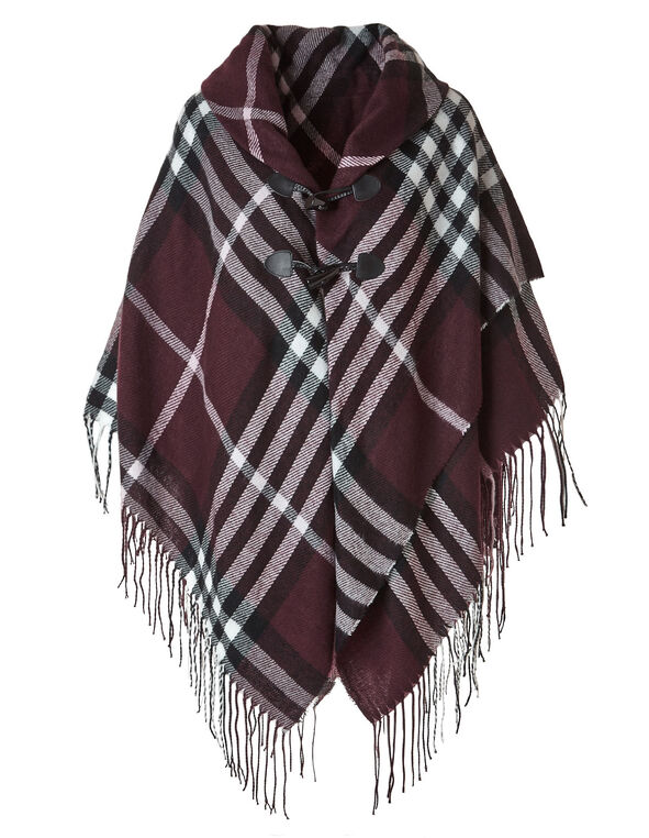 Burgundy Plaid Poncho, Burgundy, hi-res