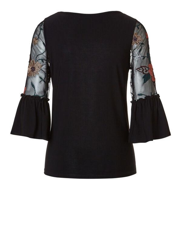Chiffon Floral Sleeve Top, Black, hi-res