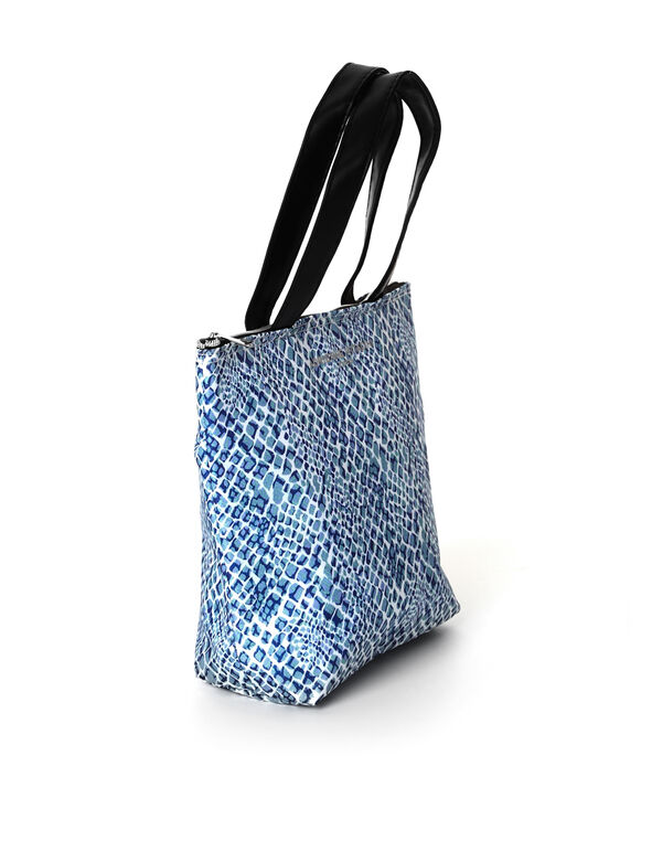 Blue Animal Print Lunch Tote, Blue, hi-res
