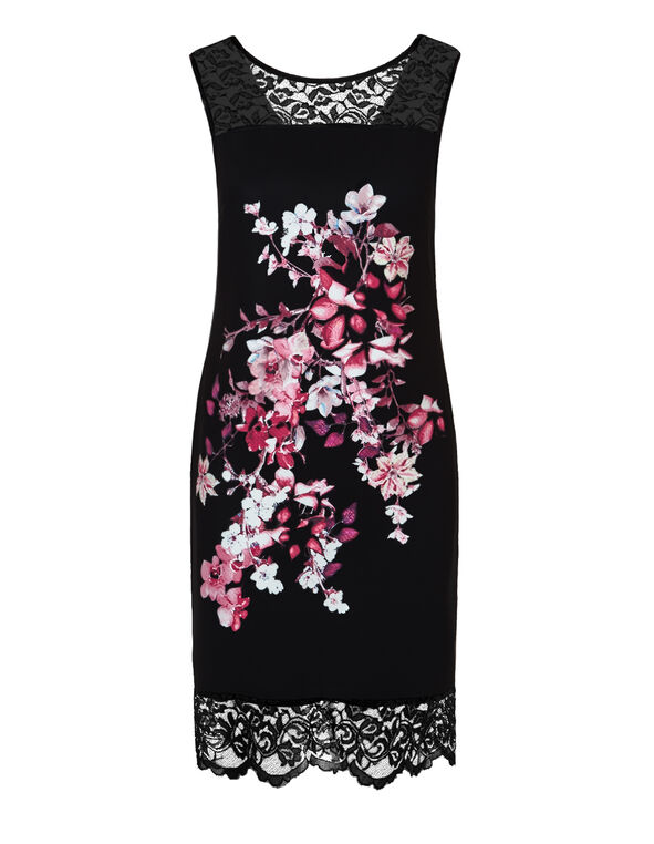 Floral Lace Shift Dress, Black/Claret/Dusty Pink/White, hi-res