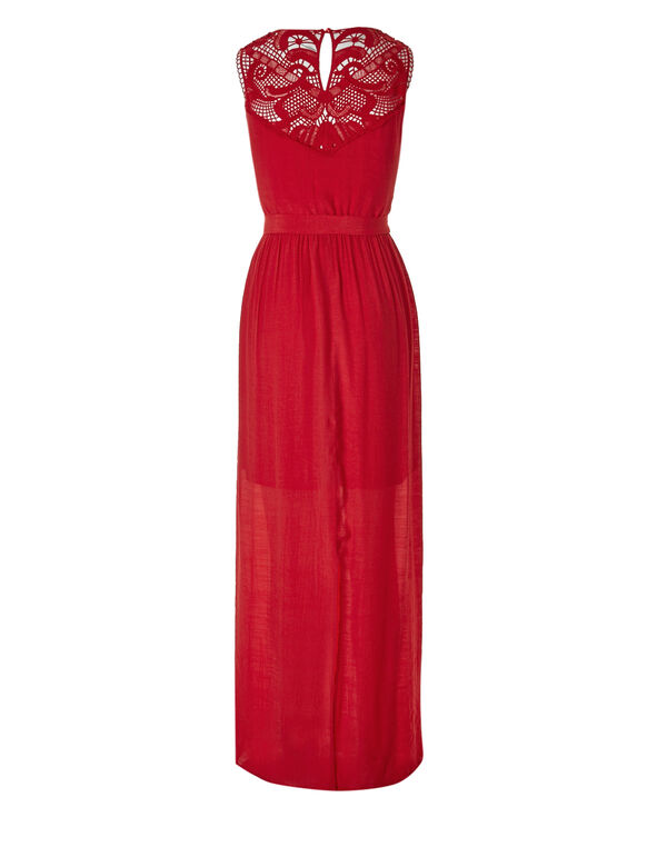 Red Lace Gauze Maxi Dress, Red, hi-res