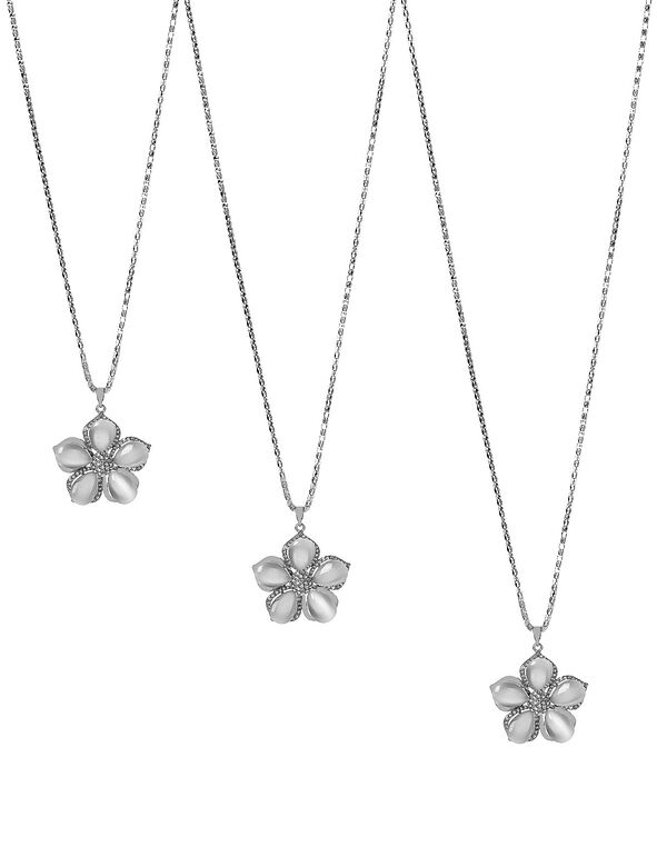 Neutral Flower Adjustable Necklace, Neutral, hi-res