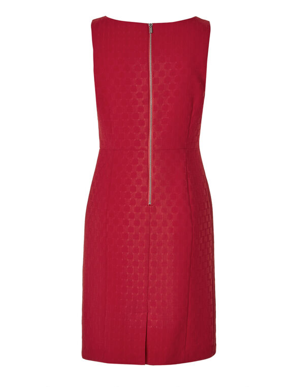 Red Basket Weave Sheath Dress, Red, hi-res