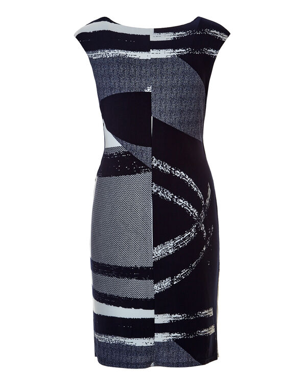 Navy Brushstroke Shift Dress, Navy/White, hi-res