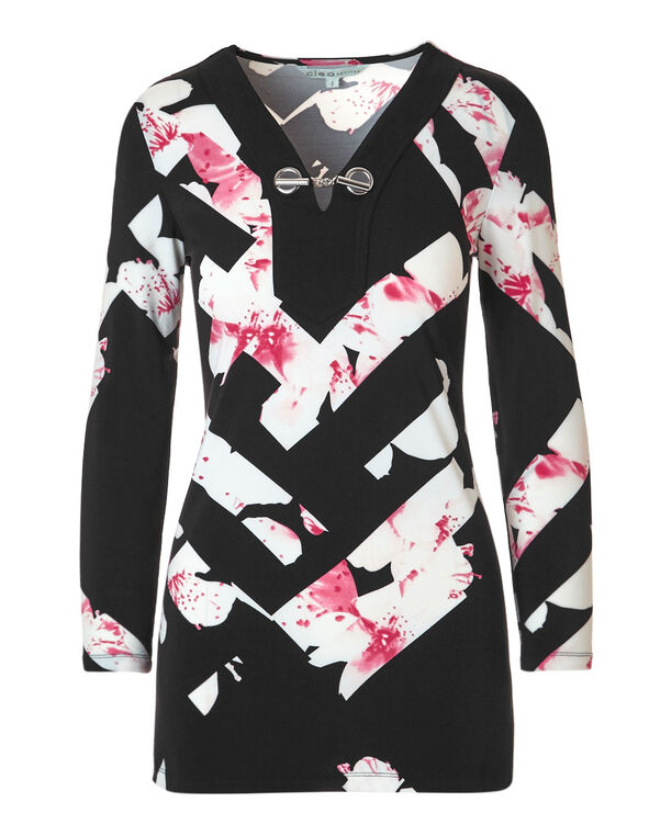 Pink Floral Tunic, Pink/Ivory, hi-res