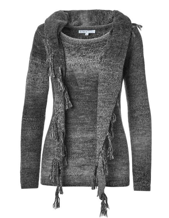 Black Removable Scarf Sweater, Black, hi-res
