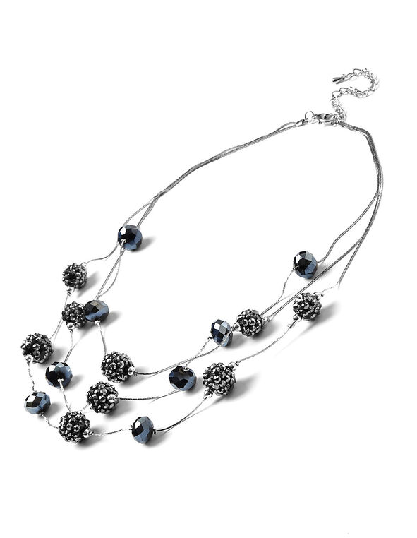 Navy Beaded Illusion Necklace, Navy, hi-res