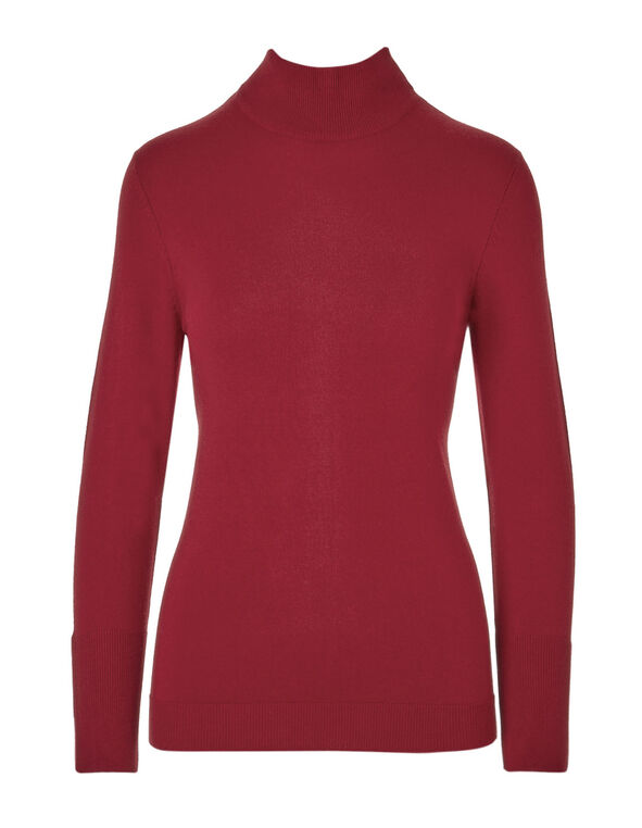Winter Red Mock Neck Sweater, Winter Red, hi-res