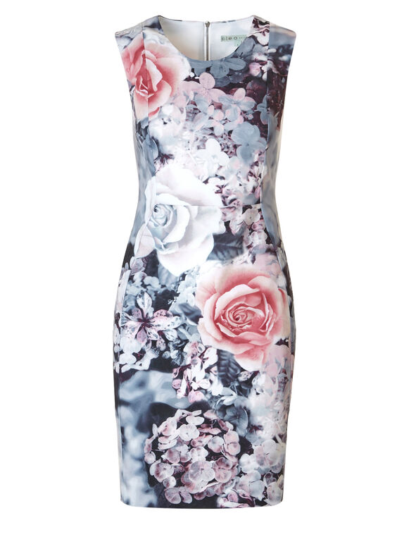 Grey Floral Sheath Dress, Grey/Pink, hi-res