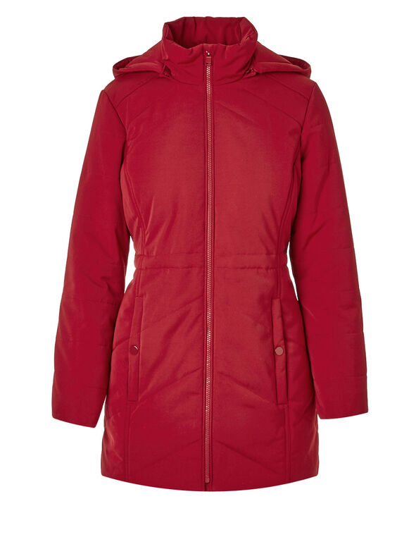 Red Long Polyfill Coat, Red, hi-res