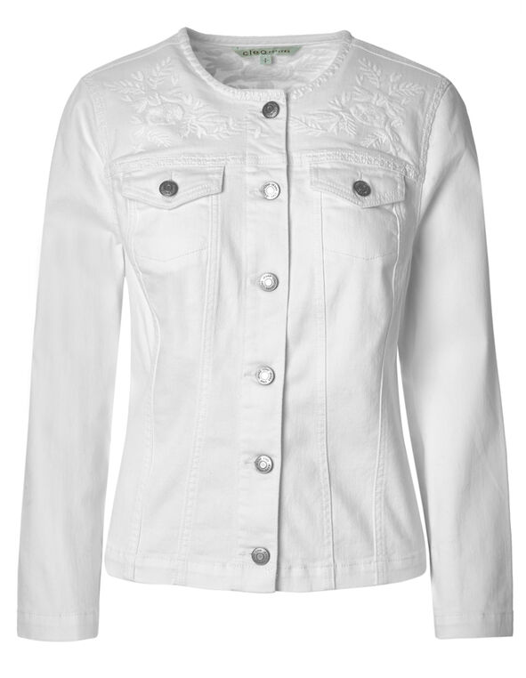 White Embroidered Denim Jacket, White, hi-res