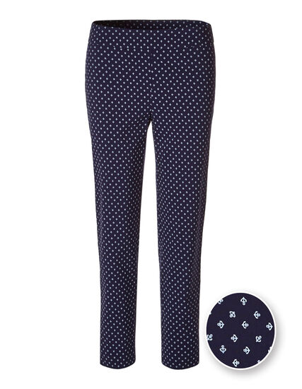 Anchor Print Ankle Pant, Navy, hi-res