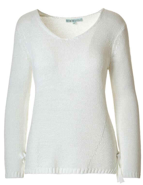 Ivory Side Grommet Sweater, Ivory, hi-res
