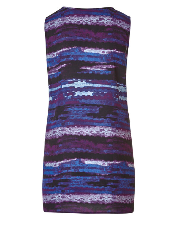 Purple Patterned Tunic Blouse, Purple/Navy, hi-res