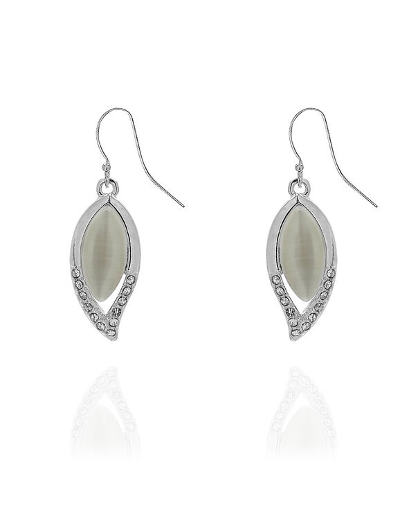 Ivory Cat Eye Leaf Pendant Earring, Ivory, hi-res