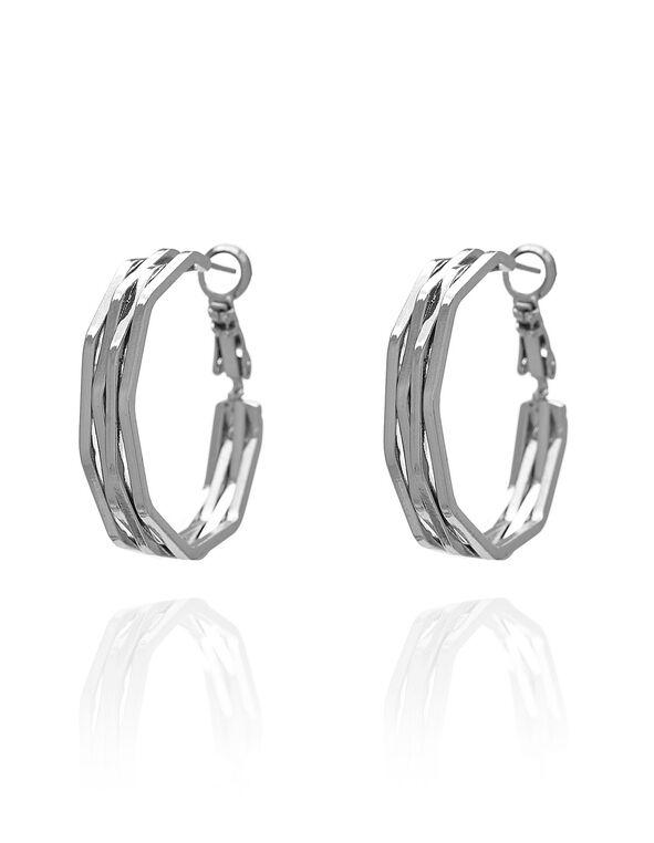 Silver Textured Hoop, Silver, hi-res