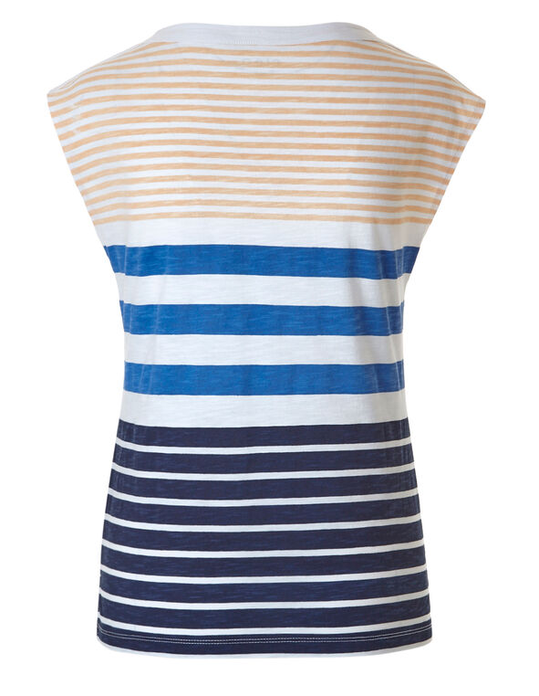 Navy Stripe Cotton Slub Tee, Navy/Orange, hi-res