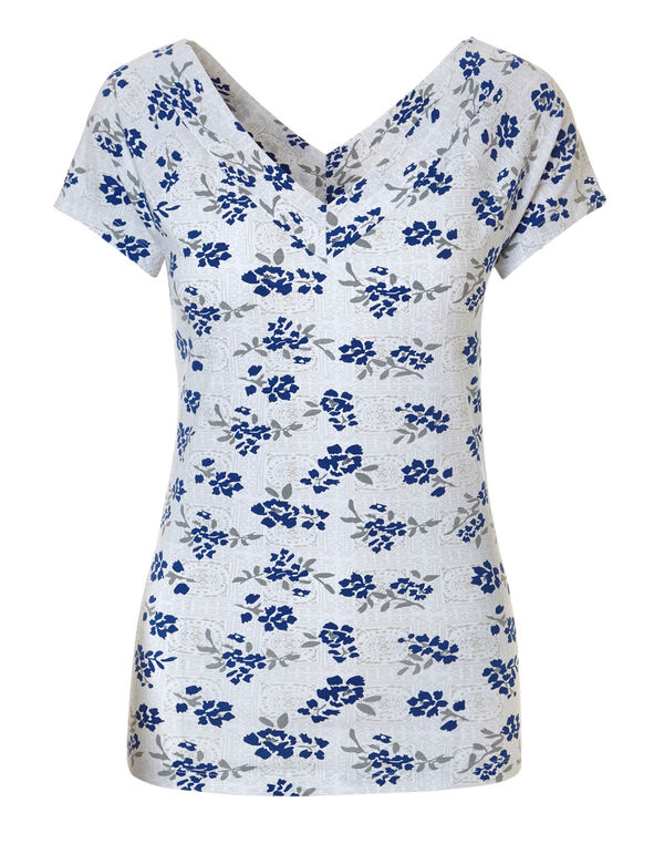 Blue Patterned Double V Cotton Tee, Blue, hi-res