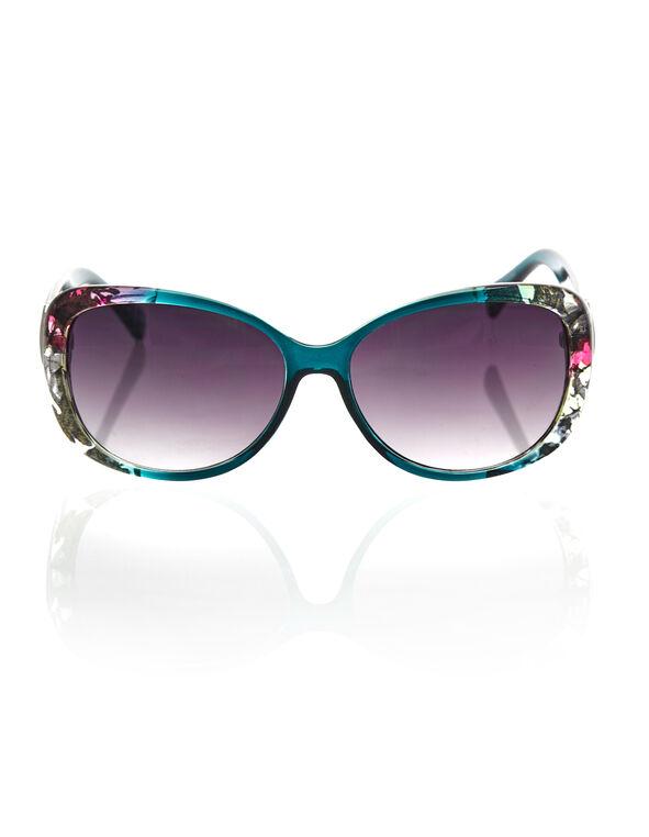 Floral Oval Framed Sunglasses, Turquoise, hi-res