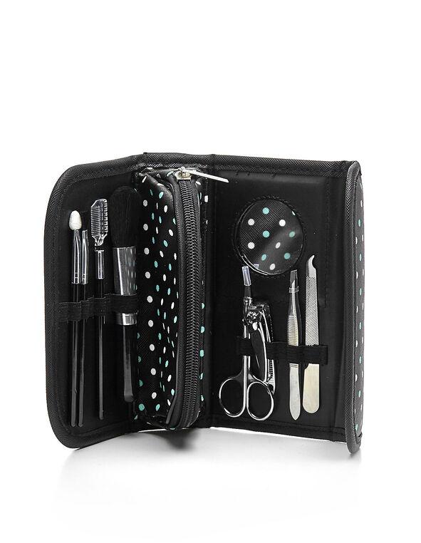 Black Aqua Dot Cosmetic Kit, Black, hi-res