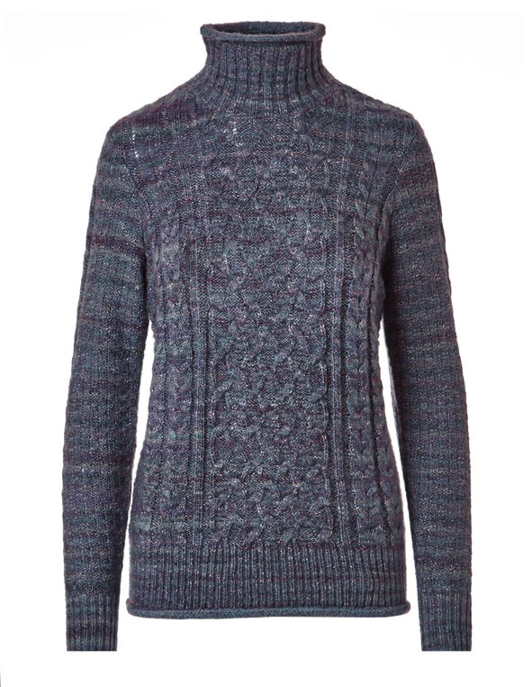 Purple Mix Cable Knit Sweater, Purple, hi-res