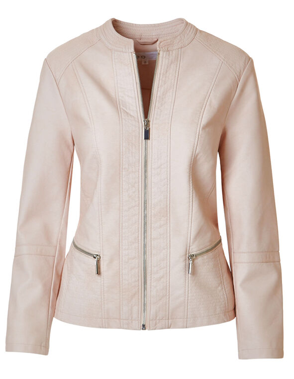 Pink Scuba Faux Leather Jacket, Pink, hi-res