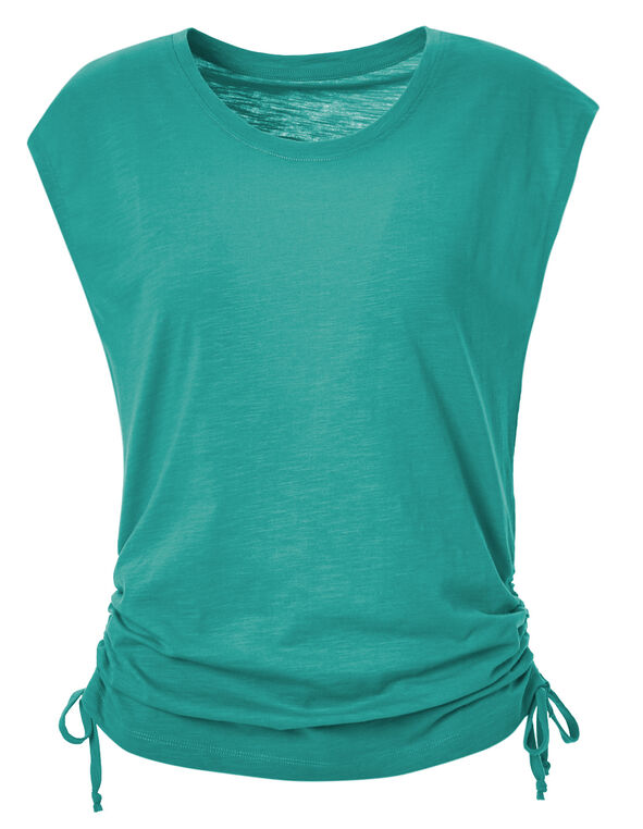 Turquoise Adjustable Ruching Tee, Tuquoise, hi-res