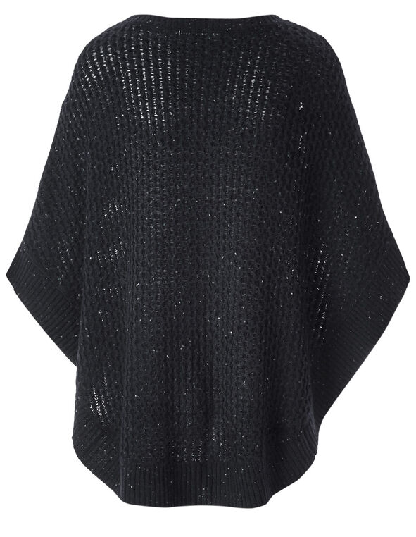 Navy Novelty Stitch Poncho, Navy, hi-res