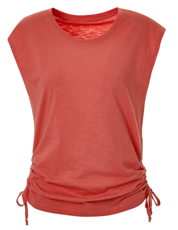 Coral Adjustable Ruching Tee, Coral, hi-res