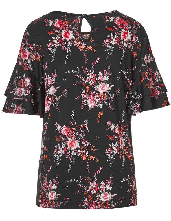 Black Printed Flutter Sleeve Top, Black Print, hi-res