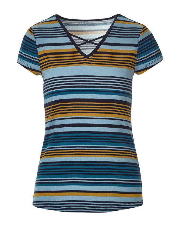 Navy Stripe Criss Cross Tee, Navy/Saffron/Blue Cloud, hi-res