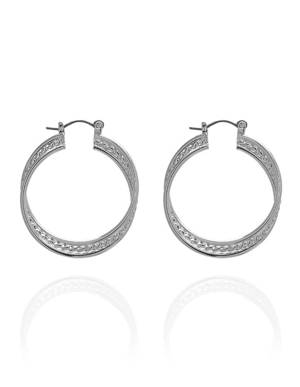 Silvered Layered Texture Hoop Earring, Silver, hi-res
