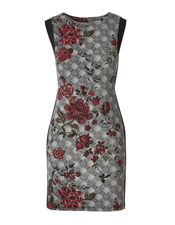 Plaid Floral Sheath Dress, Black/White, hi-res