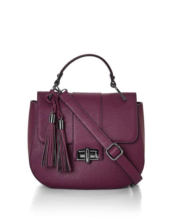 Claret Tassel Saddle Bag, Claret, hi-res