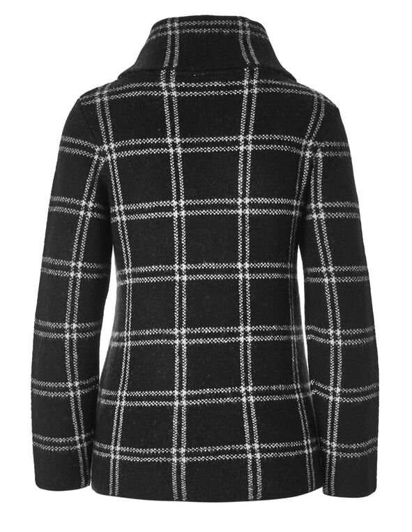 Windowpane Shawl Neck Cardigan, Black, hi-res