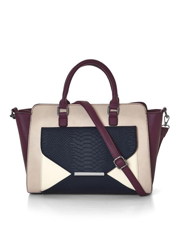 Claret Croc Lady Bag, Claret/Dusty Pink/Navy, hi-res