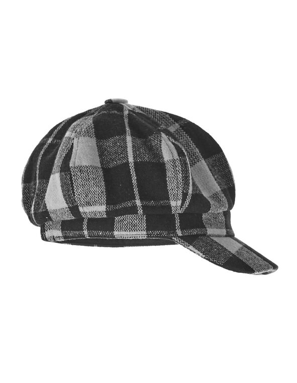 Black Buffalo Check Cabby Hat, Black, hi-res