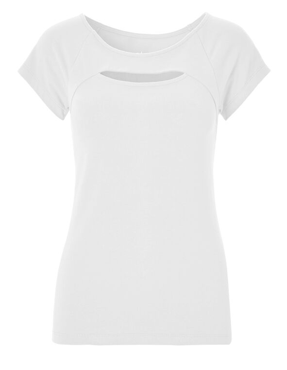 White Peek-A-Boo Tee, White, hi-res