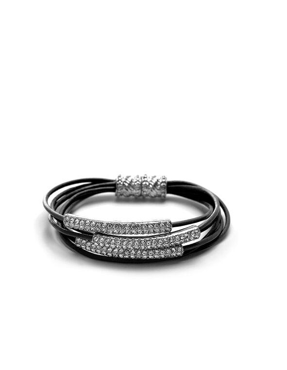 Black Leather Cord Magnetic Bracelet, Black, hi-res