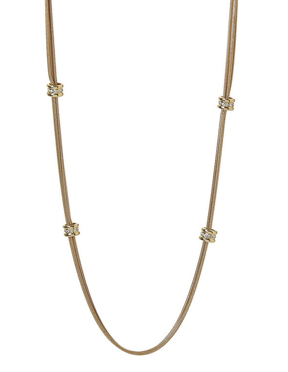 Gold Rondelle Chain Necklace, Gold, hi-res