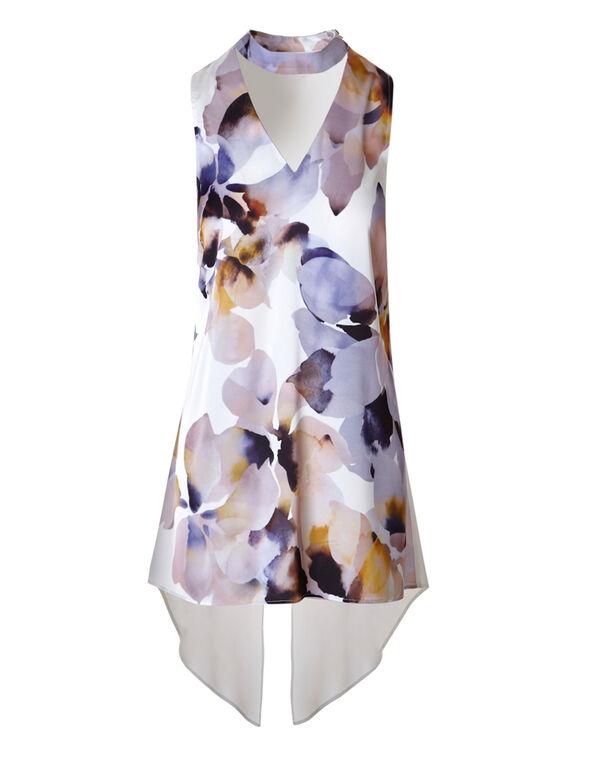 Printed Gigi Neck Floral Blouse, Purple Print, hi-res