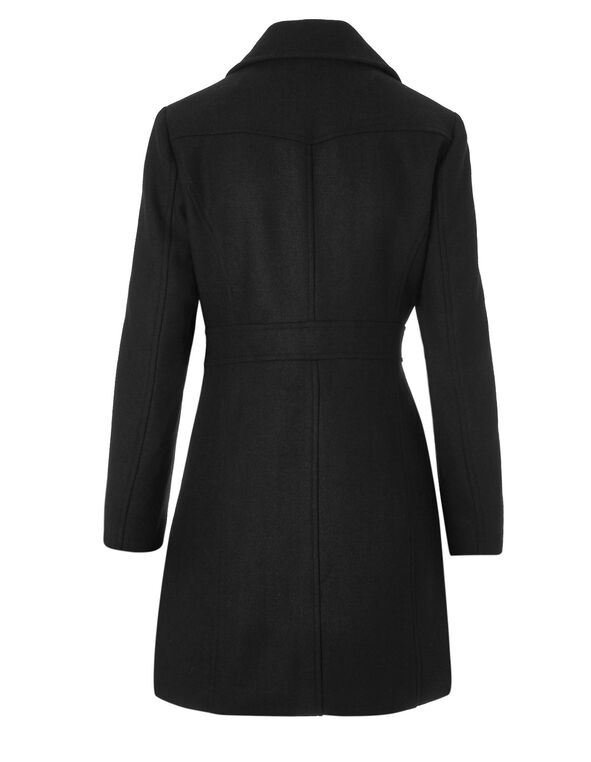 Black Wool Blend Peacoat, Black, hi-res