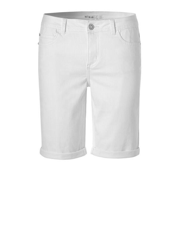 White Denim Short, White, hi-res