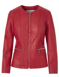 Red Collarless Faux Leather Jacket