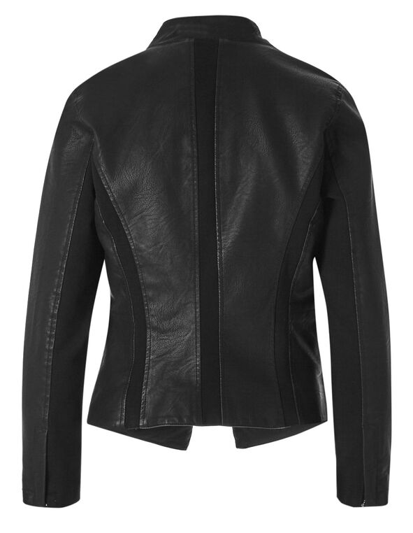 Black Open Front Faux Leather Jacket, Black, hi-res