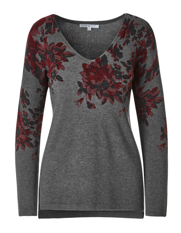 Floral Placement Print Sweater, Grey, hi-res