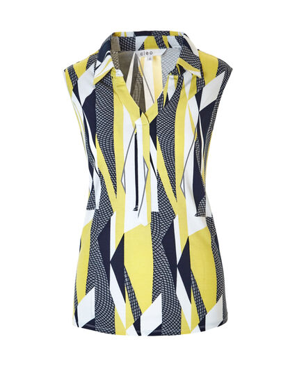 Abstract Print Collared Tee, Yellow/Navy/Grey/White, hi-res