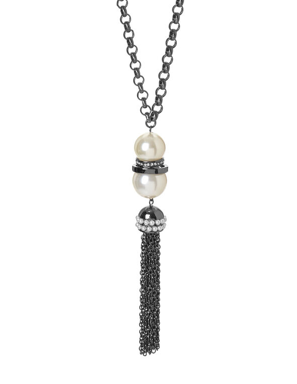 Silver Tassel Pearl Necklace, Pearl, hi-res