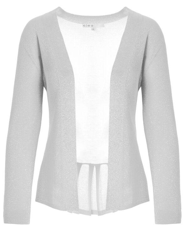 White Shimmer Short Open Cardigan, White, hi-res
